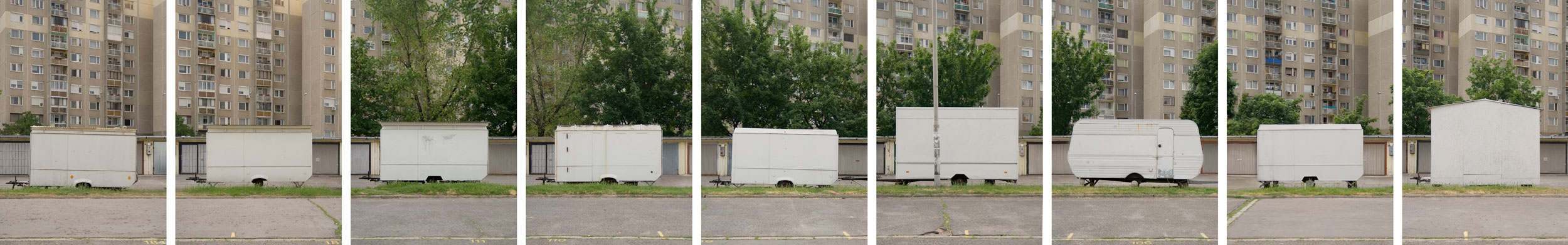Carlos Azeredo Mesquita – The Radiant City, Havana Street Estate, Budapest – Caravans, 2010, a series of digital prints on matte baryt paper, mounted on Alucobond, total length 380 cm x 60 cm