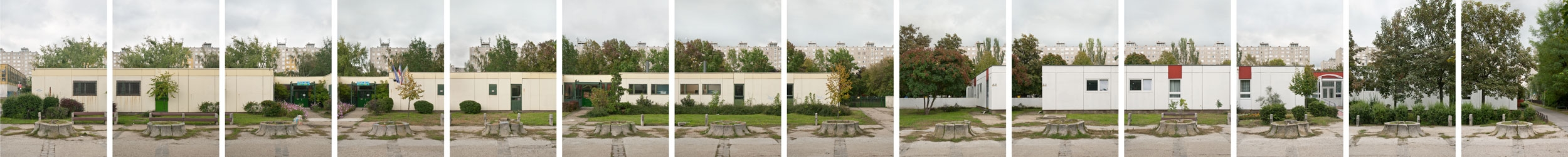 Carlos Azeredo Mesquita – The Radiant City, Havana Street Estate, Budapest – Cut Trees, 2010, a series of digital prints on matte baryt paper, mounted on Alucobond, total length 500 cm x 60 cm