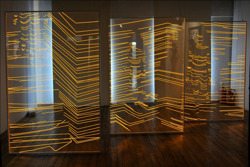 KATARZYNA DITRICH – PATURALSKA – Nude Descending a Staircase, 2011, 3x: 200 cm x 130 cm, acrylic sheets, glowing LED tapes