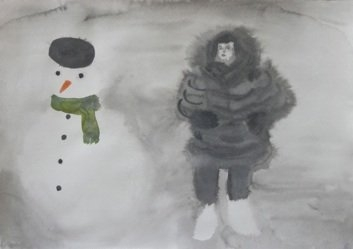 Pegah Amini – Snowman, 2014, watercolor